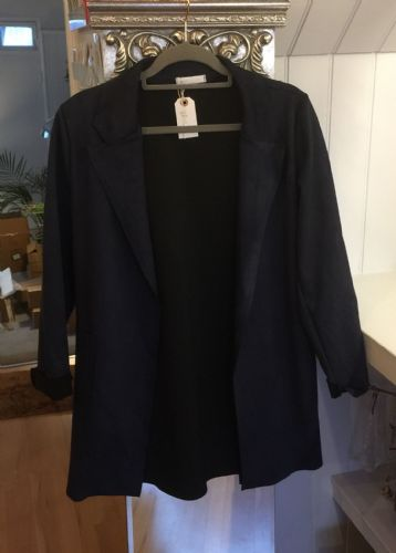 Faux Suede Long Open Jacket - Navy